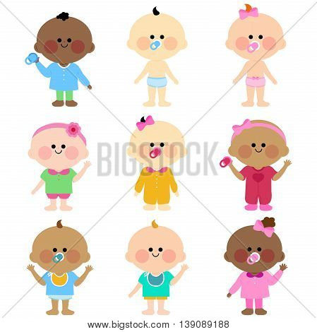 Vector Illustration of  a happy multicultural group of cute babies