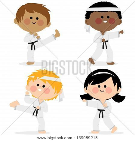 Group of karate children wearing martial arts uniforms