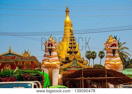 Chinthe At Shwemawdaw Pagoda , Bago In Myanmar. Burma.