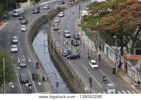 Rio de Janeiro Brazil - july 19 2016: car accident involving two vehicles on the expressway in the north of the city.