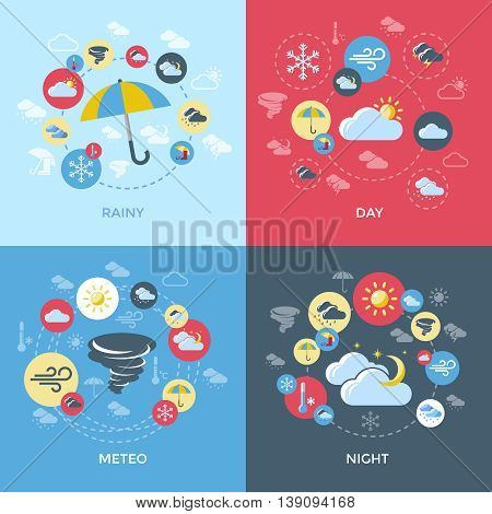 Weather forecast compositions with four square icon set on rainy day meteo night themes vector illustration