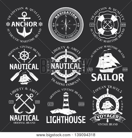 Nautical emblem set white on black liberty and amity nautical travel company par example vector illustration