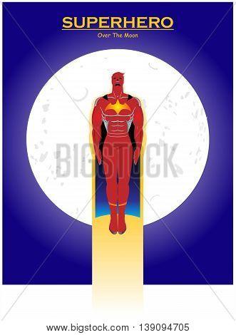 Superhero. Red Superhero with the cape. Superhero over the full moon. Flying Superhero across the moon. Superhero and the moon.