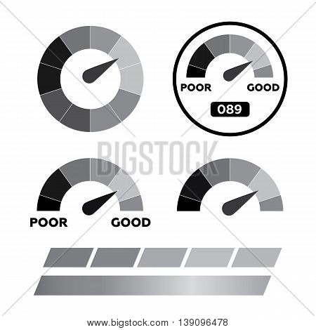 Meter icons. Symbols of speedometers manometers eps10