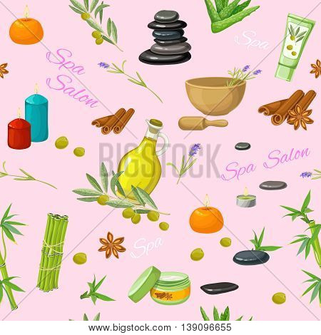 Spa salon seamless pattern with lavender flowers olives spices candles pebbles on pale pink background vector illustration