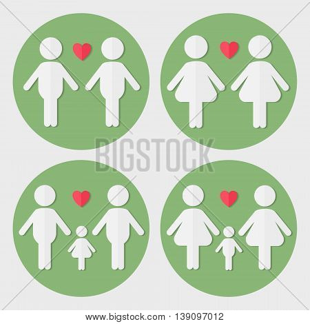Gay and lesbian couples in love with babies and not vector flat paper icon