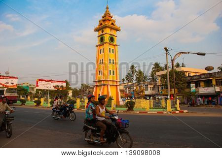 The Clock Tower On The Street. Bago In Myanmar. Burma.