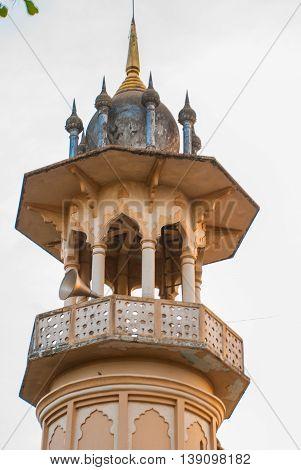 Muslim Mosque. Tower Closeup. Bago In Myanmar. Burma.