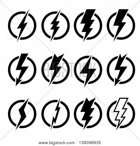 Set of black lightning bolts and signs of different shapes inscribed in black circles and isolated on white background. Can be used for logos icons signs print products web decor or other design.