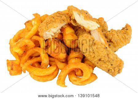 Southern fried chicken and curly potato fries isolated on a white background