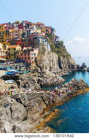 Picturesque Town Manarola In The Cinque Terre, Italy