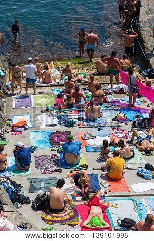 Town Beach In Manarola, Cinque Terre, Italy
