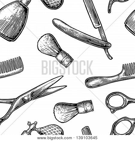 Seamless pattern set tool for BarberShop with comb razor shaving brush scissors and bottle spray. Vector hand drawn vintage engraving for poster label banner web. Isolated on white background