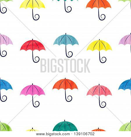 Colorful watercolor umbrellas seamless pattern. Vector background with abstract umbrellas isolated on white.