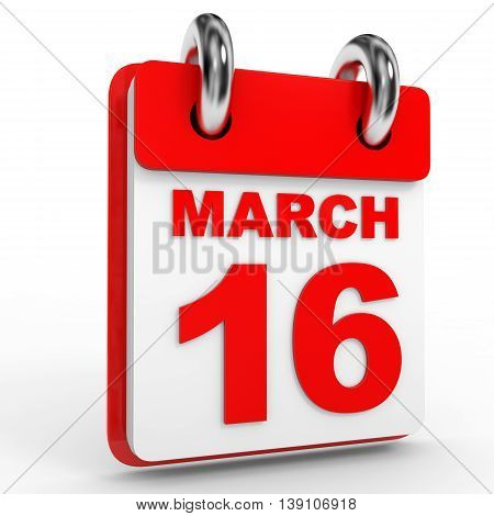 16 March Calendar On White Background.
