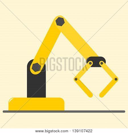 Mechanical hydraulic robotic arm. Isolated vector illustration.
