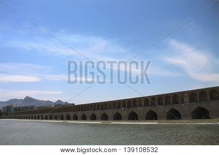 An old bridge from 17th B.C which is known as the bridge of thirty three spans in Isfahan of Iran