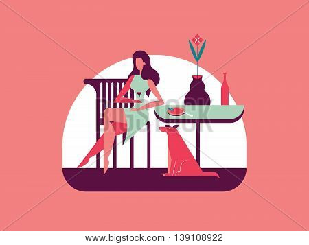 Girl dines at the table, under which sits a dog