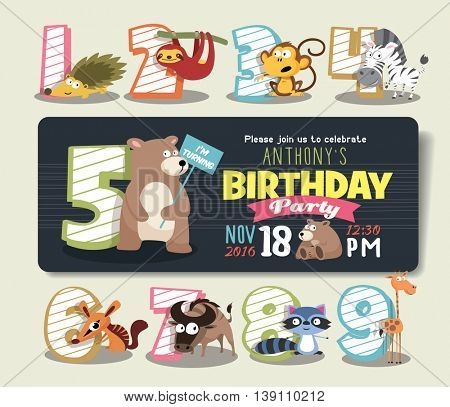Birthday Anniversary Numbers with Funny Animal Character & Birthday Party Invitation Card Template