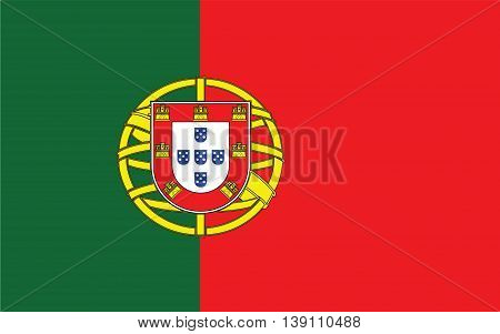 Portugal Flag  color and size original vector