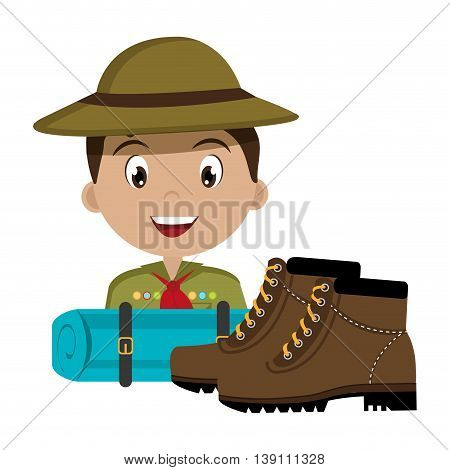 scout character  with boots isolated icon design, vector illustration  graphic