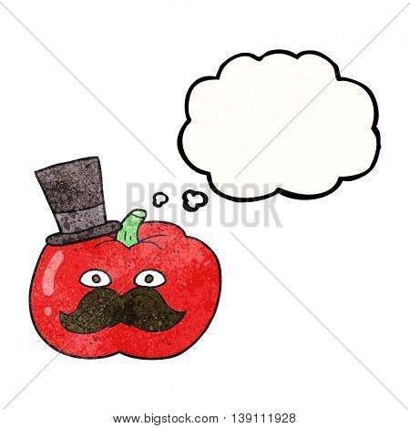 freehand drawn thought bubble textured cartoon posh tomato