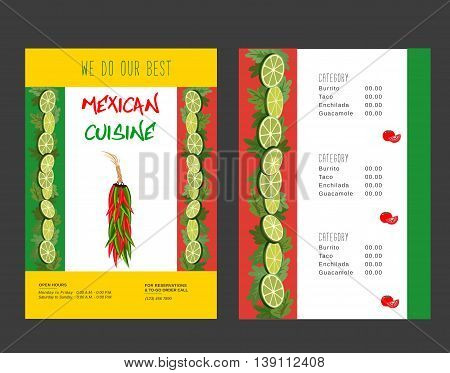 Set of templates for restaurant. Mexican food menu, advertisement flyers. Hot chili pepper. Lime and paprika. Spicy kitchen. Vector illustration