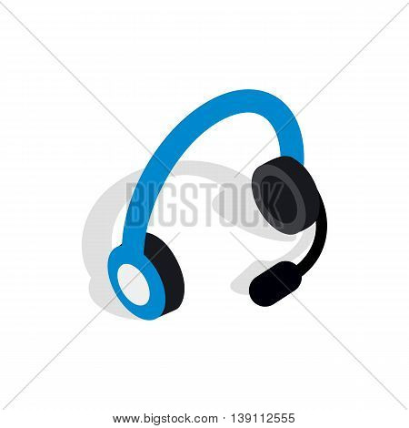Headphones with microphone icon in isometric 3d style isolated on white background. Sound symbol