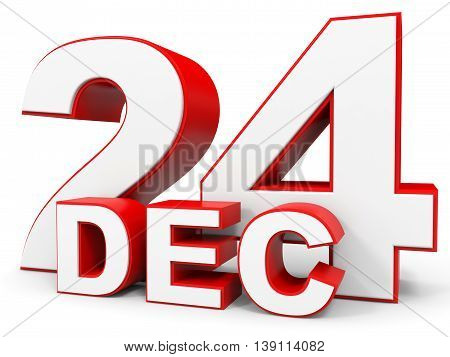December 24. 3D Text On White Background.