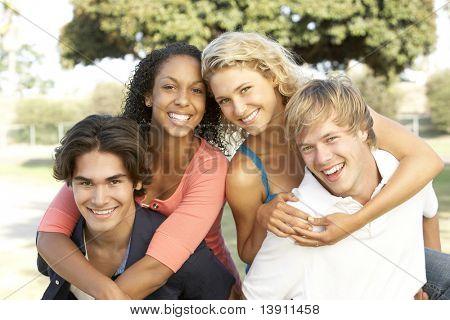 Group Of Teenagers Having Fun
