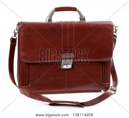Leather brown briefcase. Isolated on white background