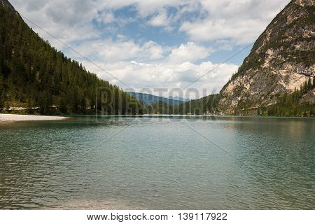 Lago de Braies or The Pragser Wildsee is a lake in the Prags Dolomites in South Tyrol, Italy.
