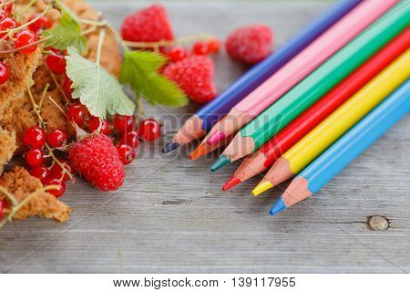 Top View Of Colored Pencils And Red Berries