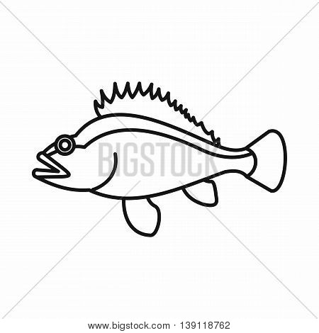Rose fish, Sebastes norvegicus icon in outline style isolated vector illustration
