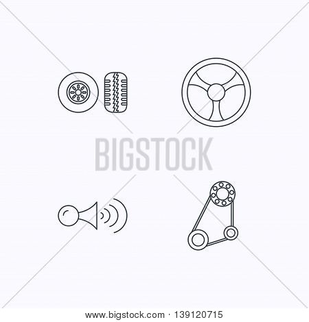 Klaxon signal, tire tread and steering wheel icons. Generator belt linear sign. Flat linear icons on white background. Vector
