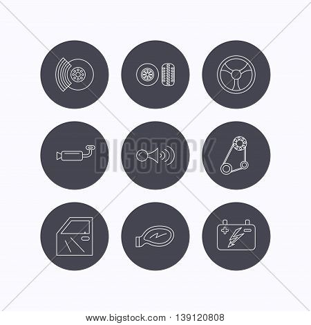 Accumulator, brakes and steering wheel icons. Generator belt, klaxon signal and car mirror linear signs. Door icon. Flat icons in circle buttons on white background. Vector