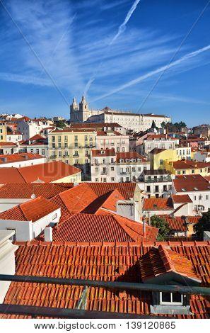 Alfama, historic district in Lisbon, Portugal. Touristic destination