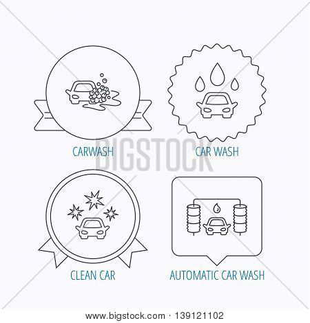 Car wash icons. Automatic cleaning station linear signs. Clean car, automatic carwash flat line icons. Award medal, star label and speech bubble designs. Vector