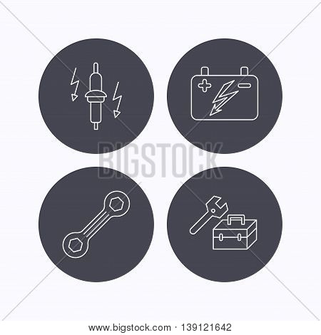 Accumulator, spanner tool and car service icons. Repair toolbox, spark plug linear signs. Flat icons in circle buttons on white background. Vector poster