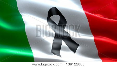 pray for italy waving italy country flag color background with black ribbon victims in italy