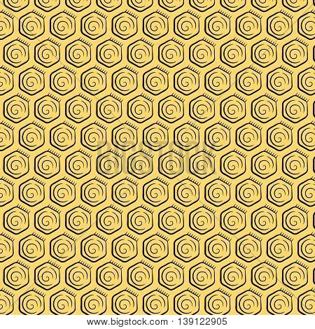 Seamless pattern of honeycomb. Background of honeycombs in vintage style. Vector illustration.
