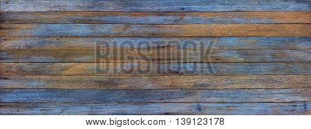 panoramic grunge background of old wood boards tinted photo