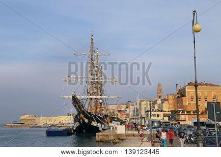GAETA ITALY - JUNE 25 2016: The three masted Palinuro a historic Italian Navy training barquentine moored in the Gaeta port.
