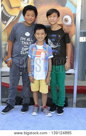 LOS ANGELES - JUL 17:  Hudson Yang, Forrest Wheeler, Ian Chen at the 'Ice Age: Collision Course' at the 20th Century Fox Lot on July 17, 2016 in Los Angeles, CA