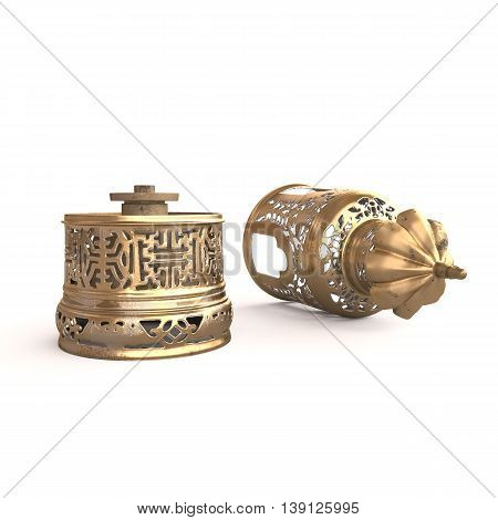 Side view of the demounted Chinese opium lamp. 3D rendering