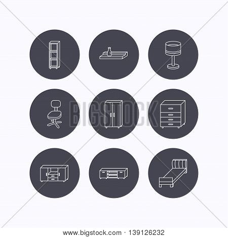 Single bed, TV table and shelving icons. Office chair, table lamp and cupboard linear signs. Wall shelf, chest of drawers icons. Flat icons in circle buttons on white background. Vector