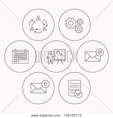 Teamwork, presentation and e-mail icons. E-mail inbox linear sign. Check file, calendar and cogwheel icons. Vector