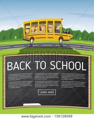 Back to School. Vector Illustration. Yellow School Bus in Cartoon Style with Pupils and Copy Space. Back to School Concept with Black Chalk Board.