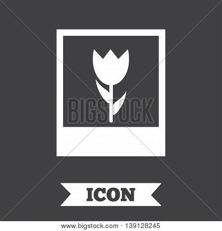 Macro photo frame sign icon. Flower photography symbol. Graphic design element. Flat macro photo symbol on dark background. Vector