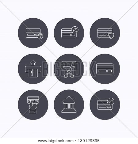 Bank credit card icons. Banking, blocked and expired debit card linear signs. Money transactions and shopping icons. Flat icons in circle buttons on white background. Vector